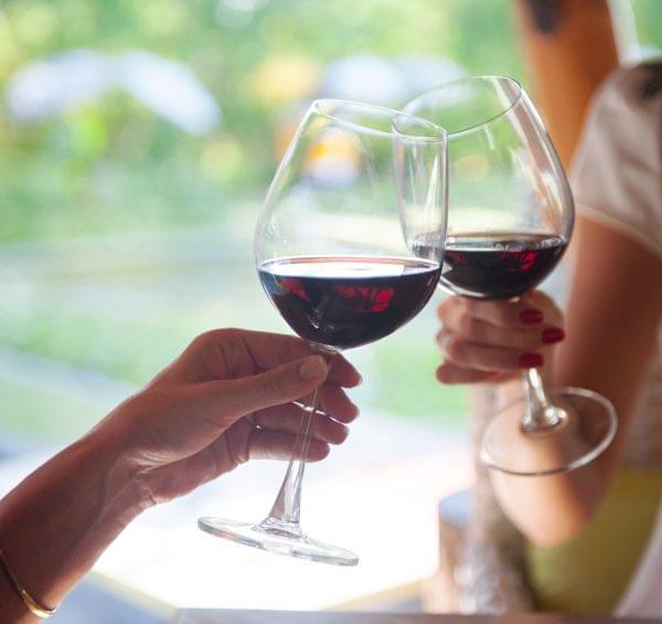 Women Toasting Red Wine