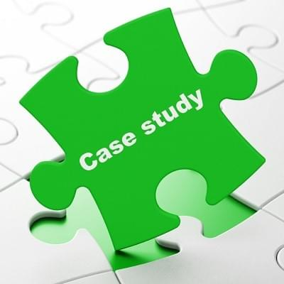 Education concept: Case Study on Green puzzle pieces background, 3d render